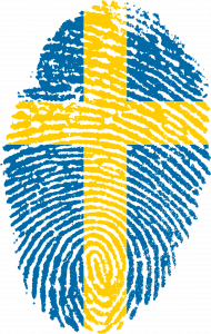 Finger print in blue and yellow like the Swedish flag.