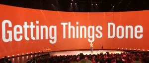 """Stage with """"Getting Things Done"""" printed on the main screen"""