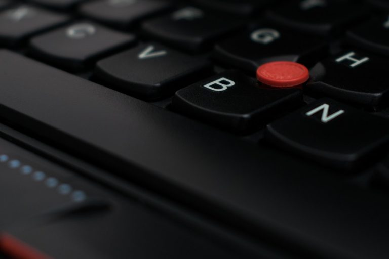 Close up on a Lenovo laptop keyboard