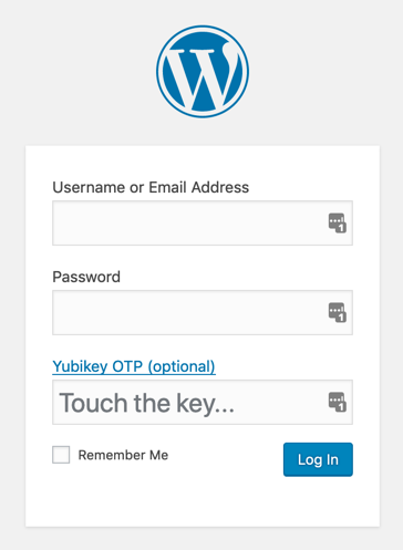 WordPress login with YubiKey OTP fields
