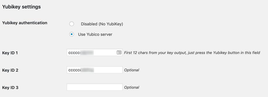 YubiKey user configuration