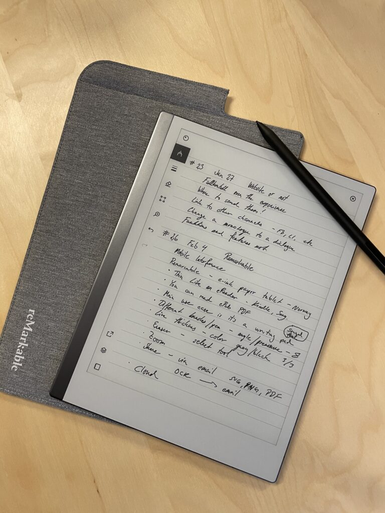 An image of the Remarkable paper tablet.
